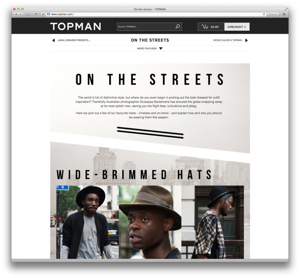Some of my snaps featured on the   Topman   site today!