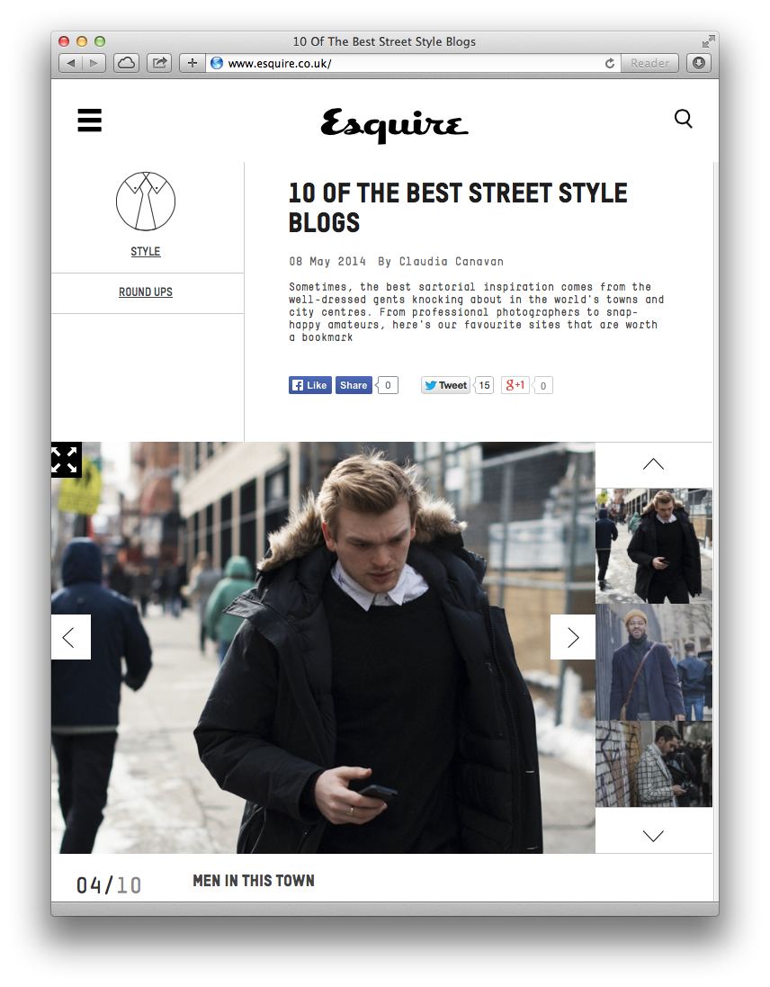 Big thank you to Esquire UK for the mention, huge honour!