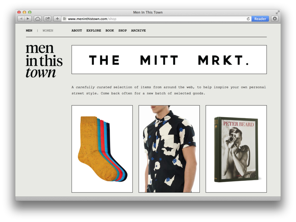 INTRODUCING THE MITT MRKT.    A carefully curated selection of itmes from around the web, to help inspire your own personal street style. Come back often for a new batch of selected goods.