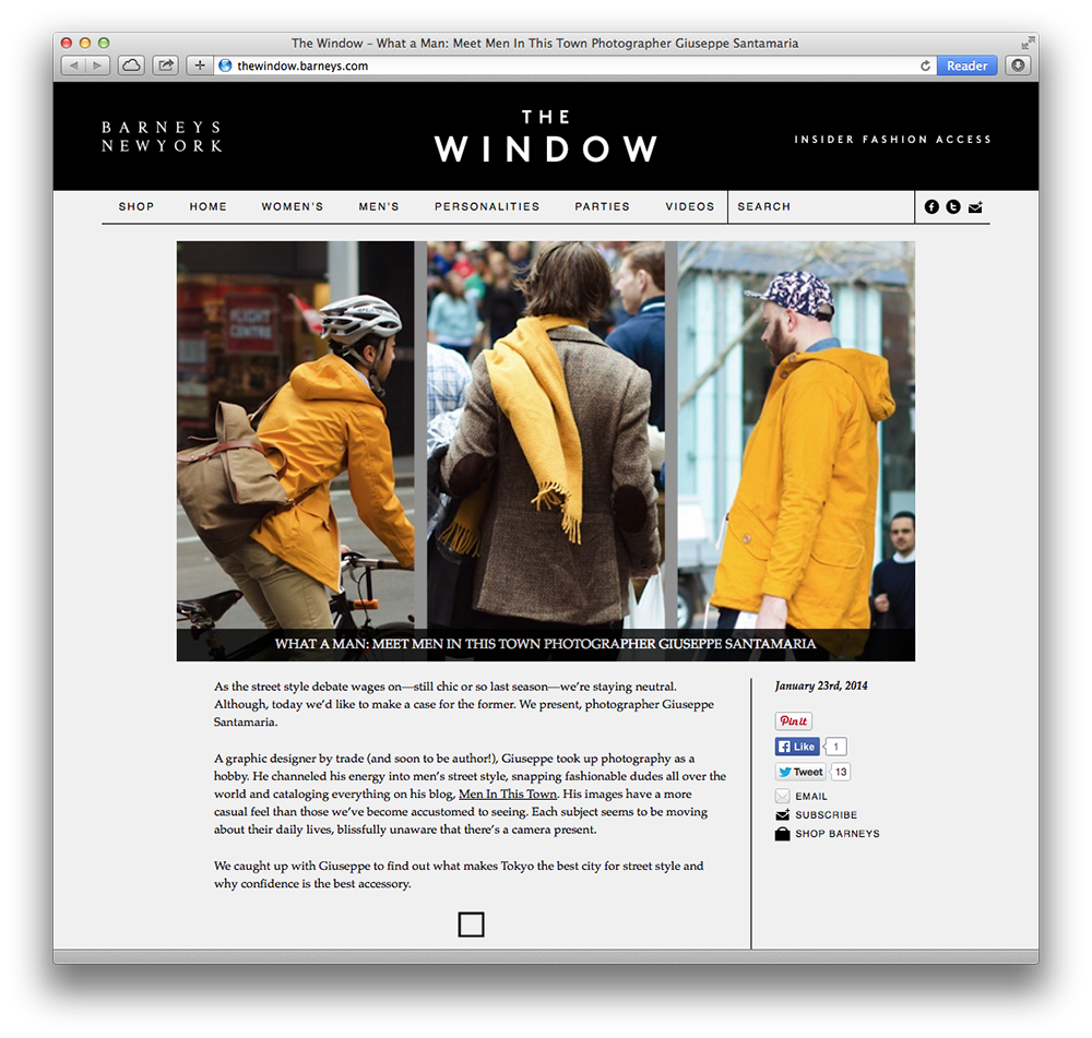 Barney's New York was kind enough to interview me for their blog, The Window.
