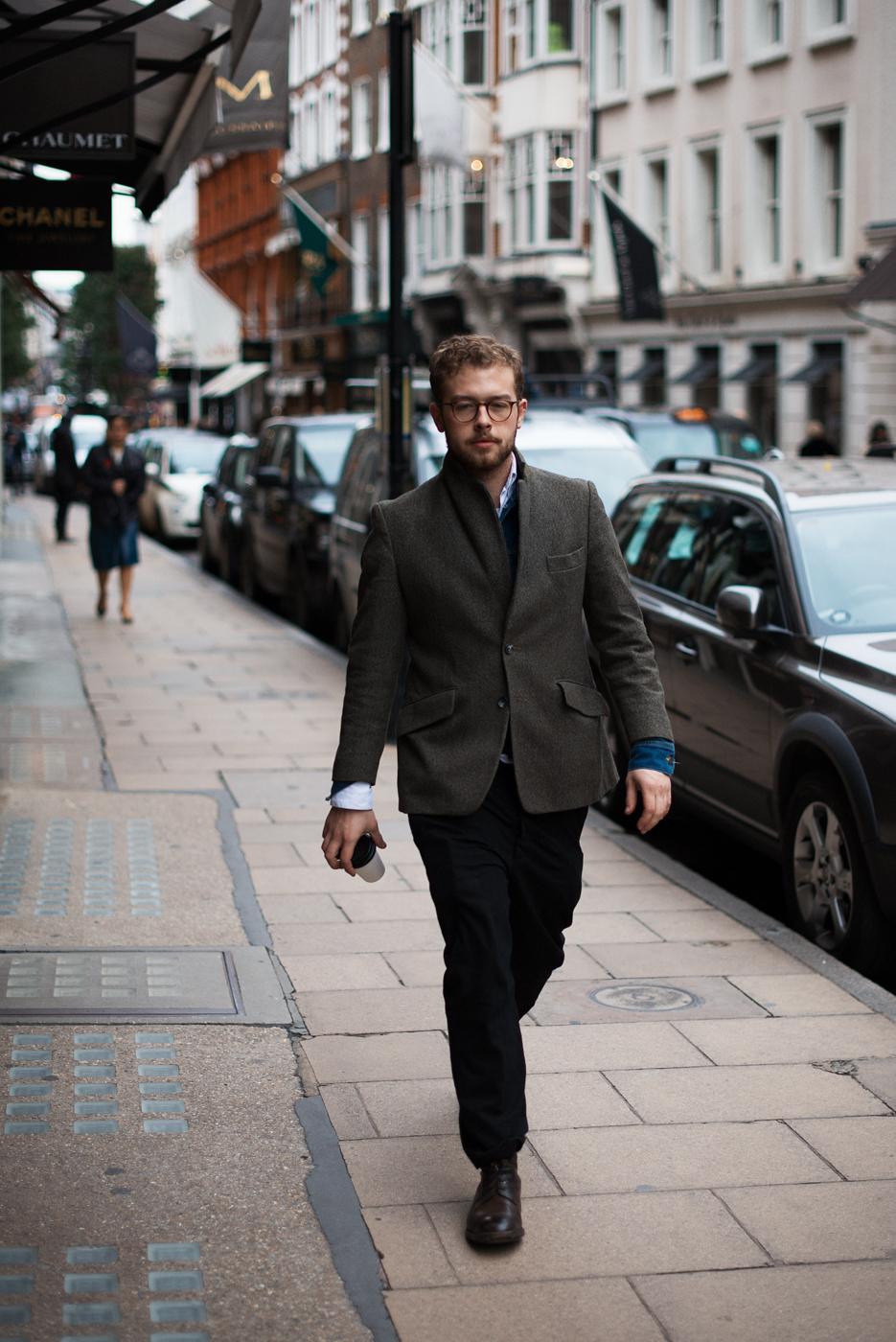London layers. Similar look:ASOS Slim Fit Blazer In Donegal.