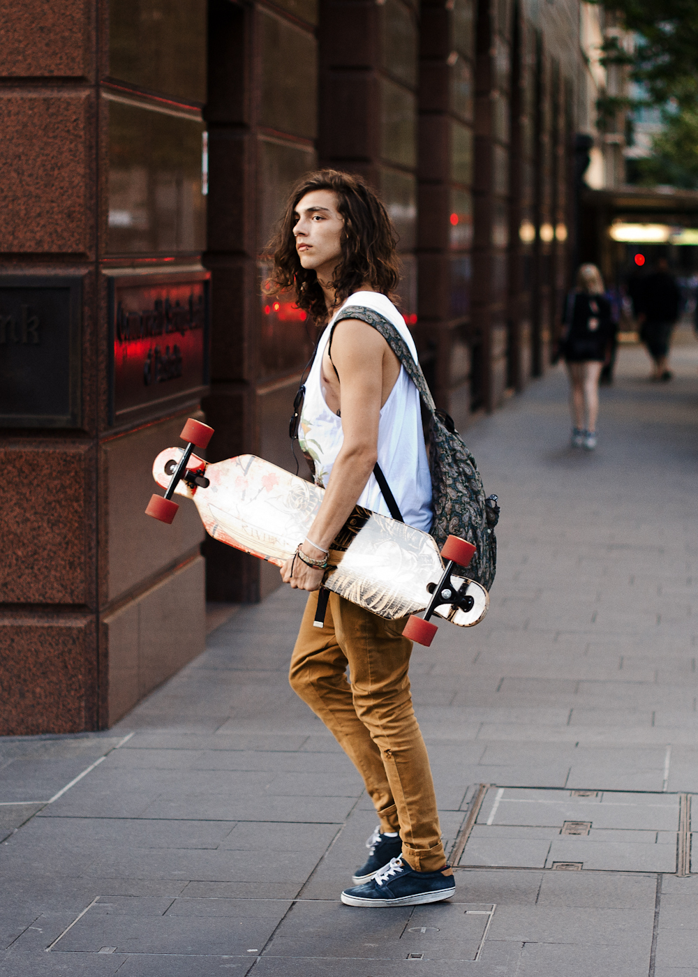 Skate city. Similar look: ASOS Hand Woven Leather Trim Backpack.
