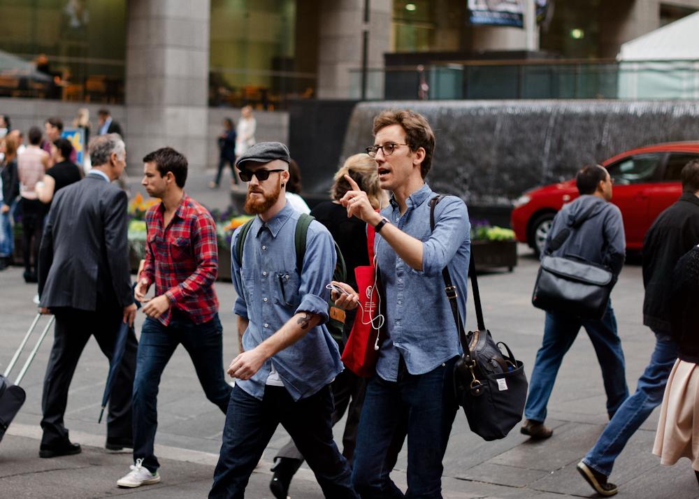 Double denim. Similar look:Paul Smith Jeans Denim Shirt.