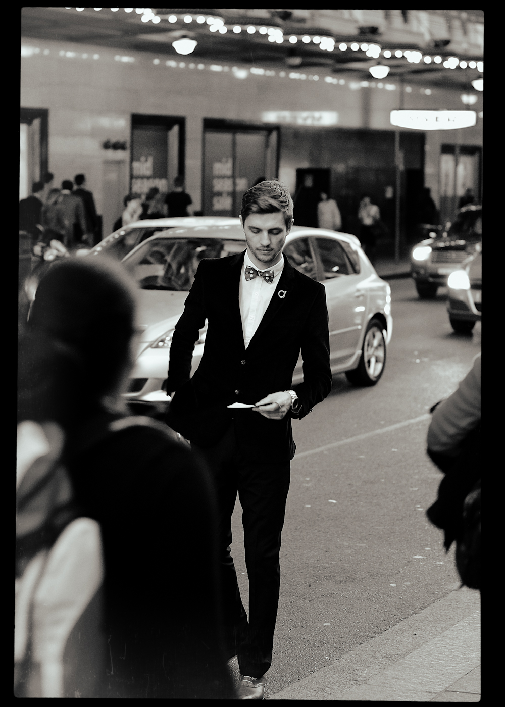 Outside the QT Hotel in Sydney.   Similar look:   Polka Dot Self Tie Bow Tie by Brent Morgan  .