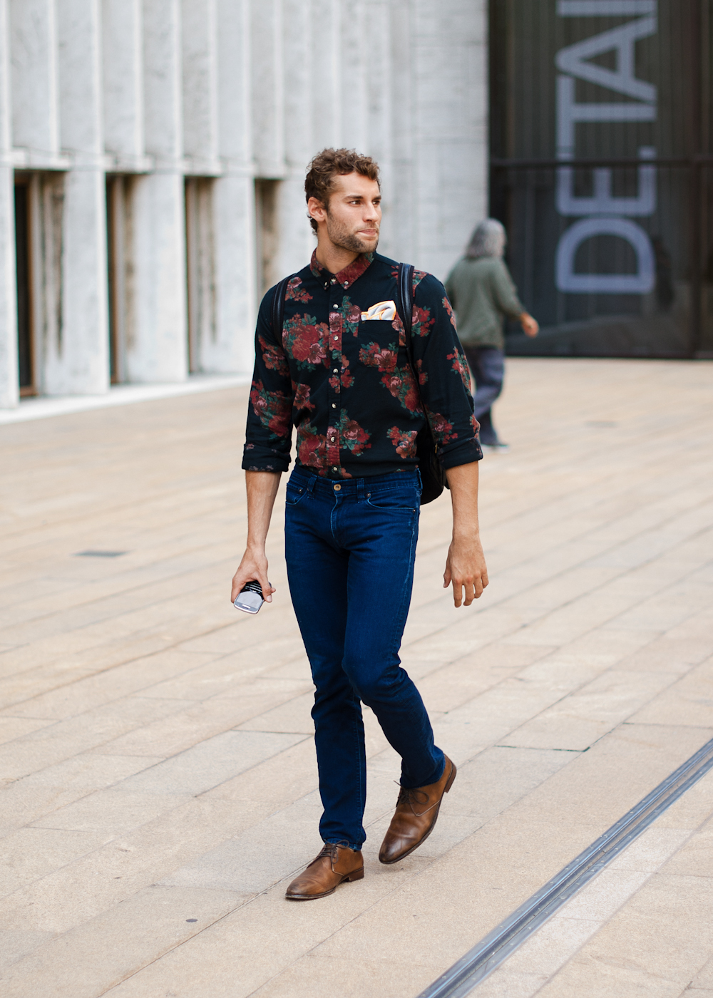 Mixing it up. Similar look: Obey Men's The Marcel Buttondown shirt (as shown).