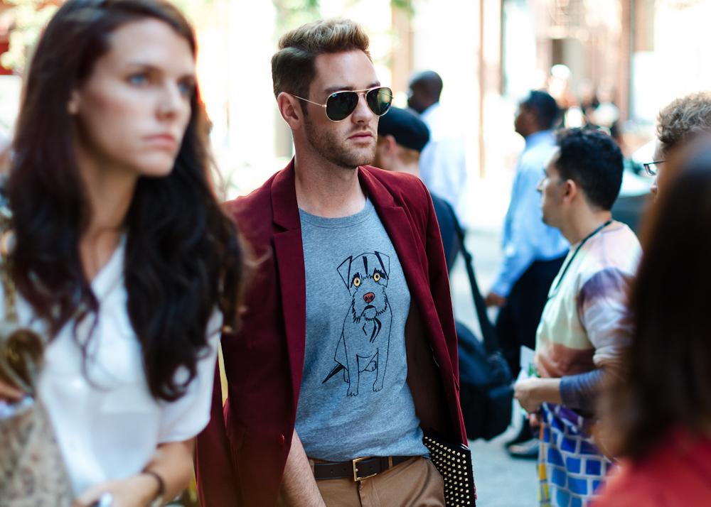 Man's best friend.   Similar look:  Burberry Prorsum Dog Print Cotton-Jersey T-Shirt  (as shown).