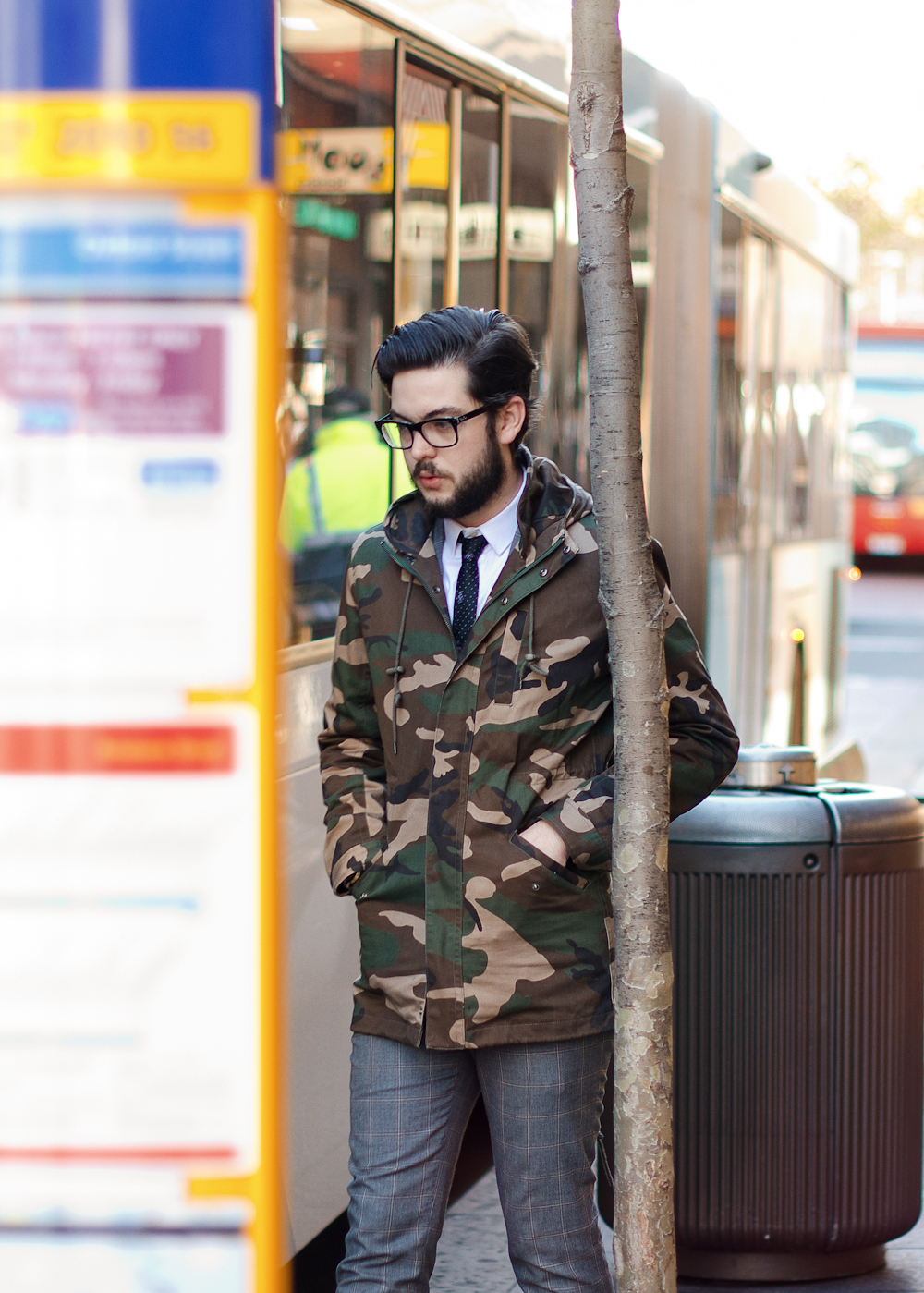 Camo in the city. Similar look: Suit Two Tone Fisherman Jacket.