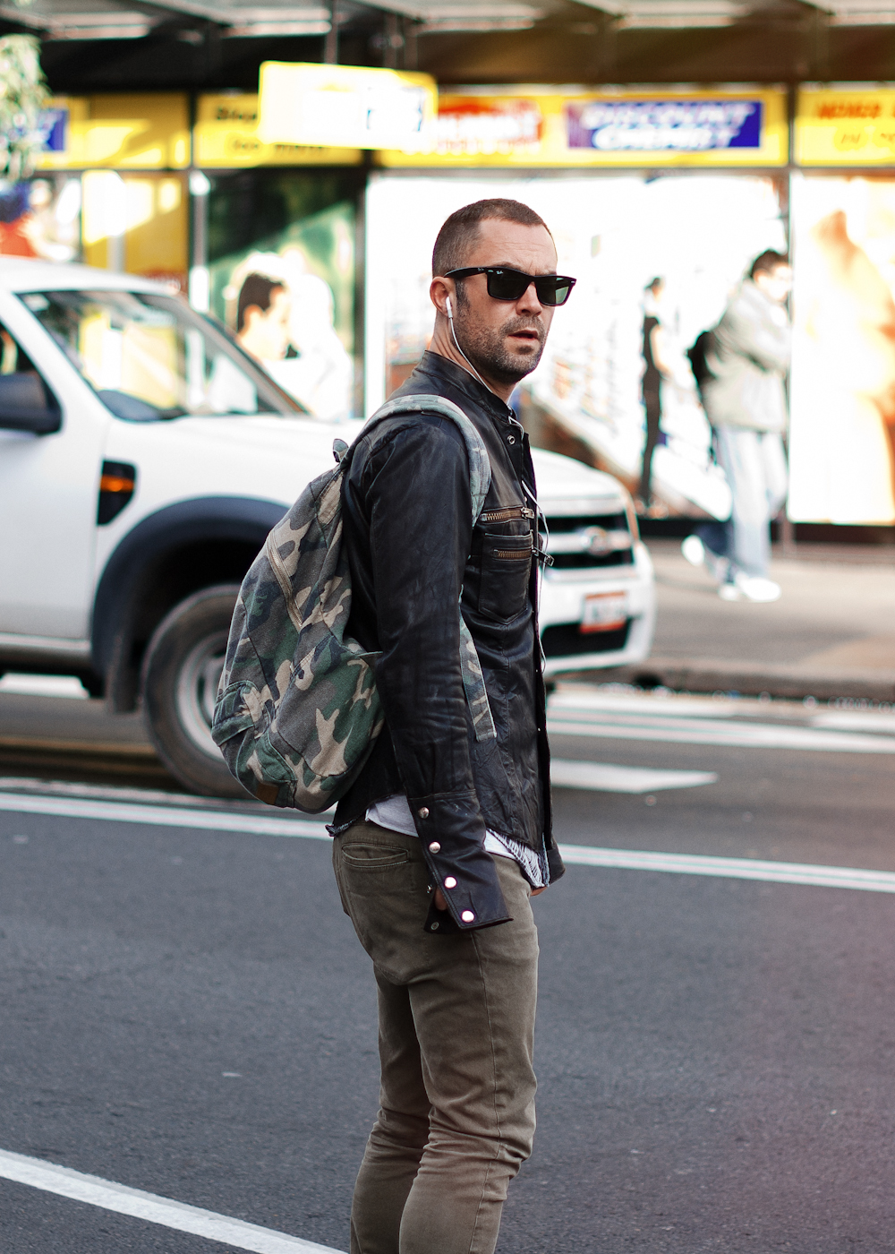 Camo on Oxford Street. Similar look: Mark McNairy Backpack with Camo Print.
