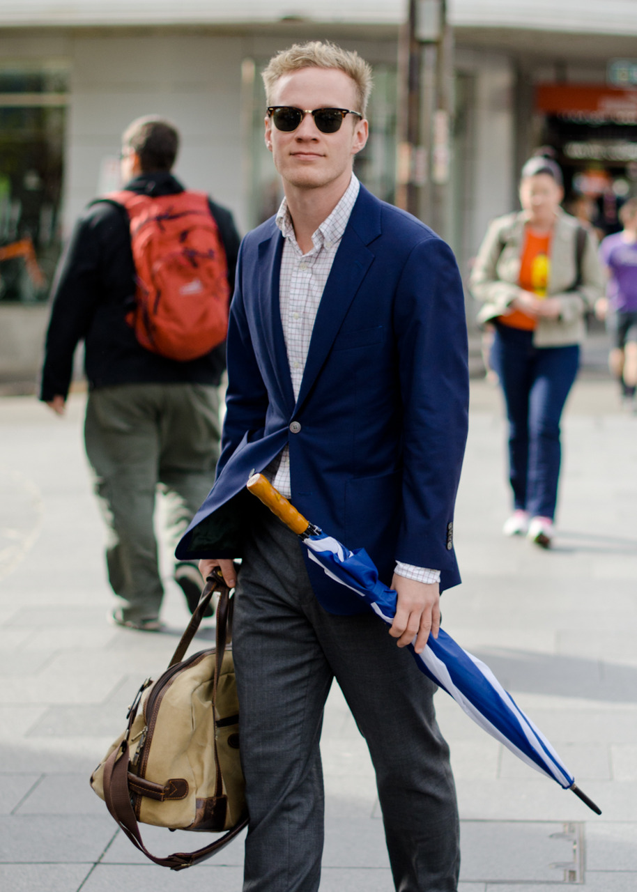 Blue blazer on Oxford Street.