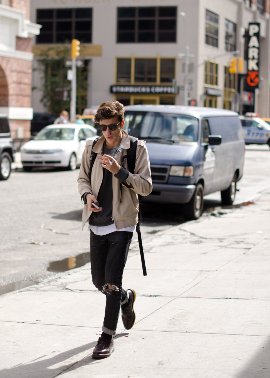 Spotted heading to Milk Studios, day one of NYFW.