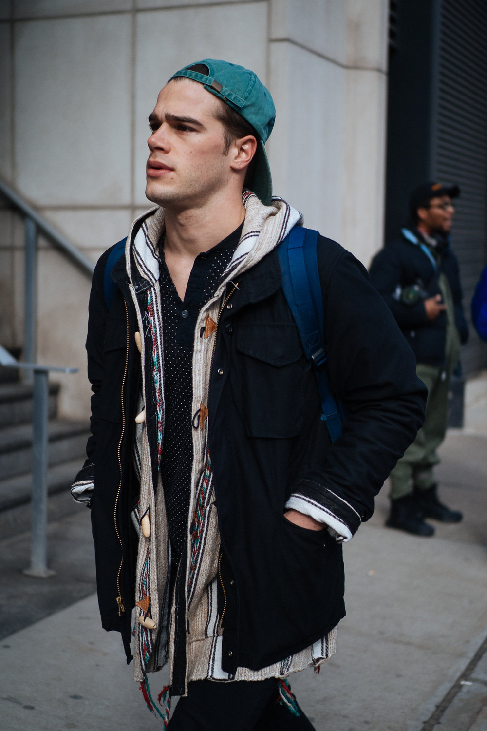 Open layers at NYFW:M, captured on the  Olympus OM-D E-M1 Mark II .