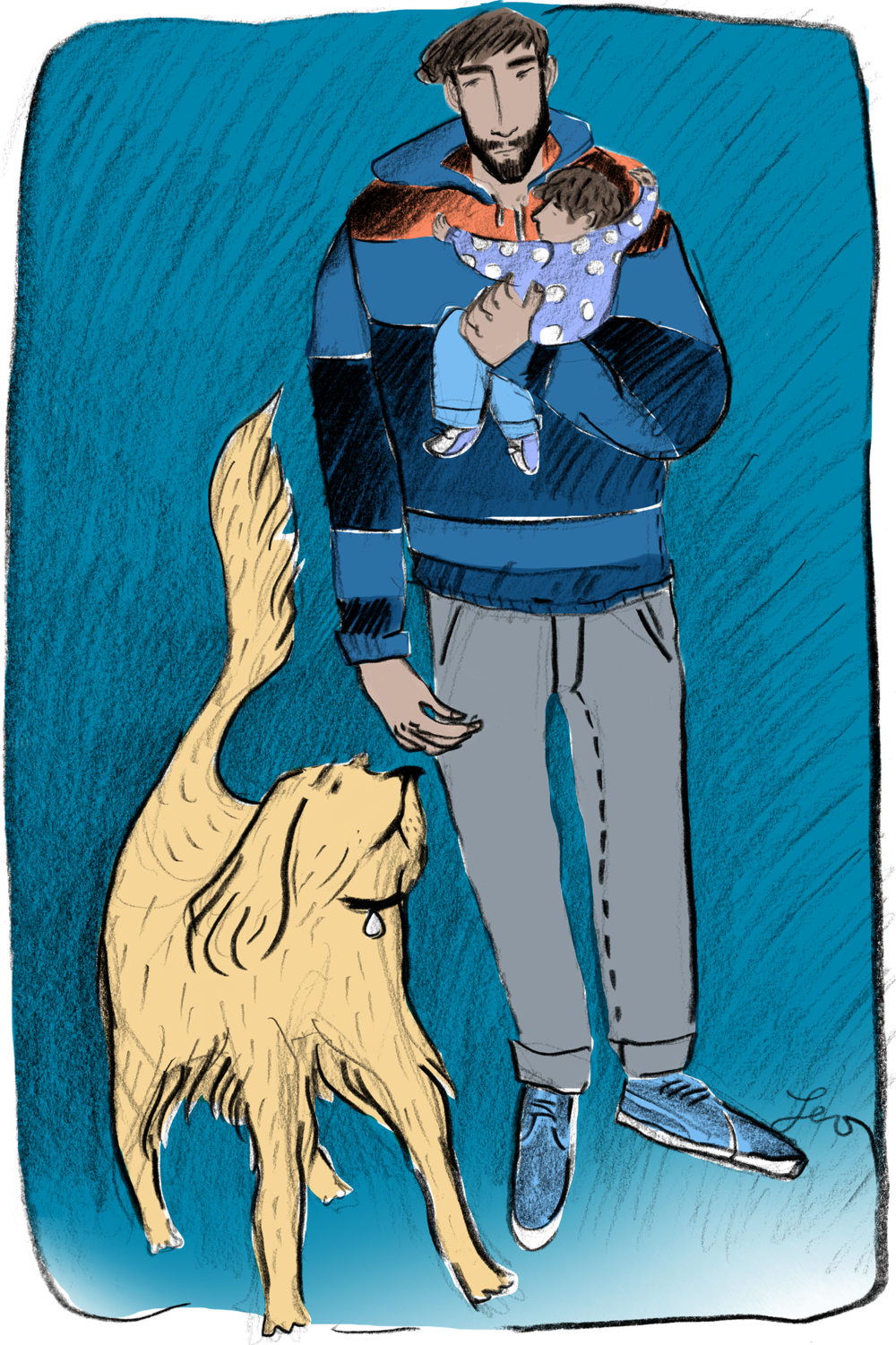 Leo Greenfield  shares a street sketch of man and his best friend.