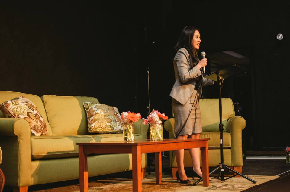 Michelle Kwan giving her keynote speech. Image: Brittanny Taylor Photography