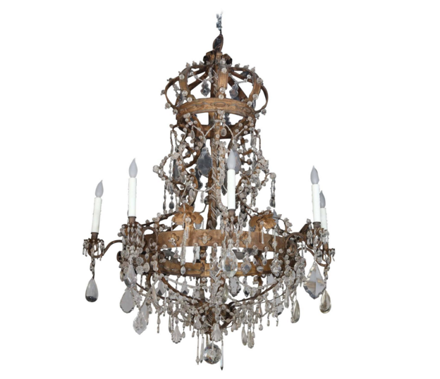 Italian 18th Century Gilt Iron And Crystal Beaded Crown Top Chandelier