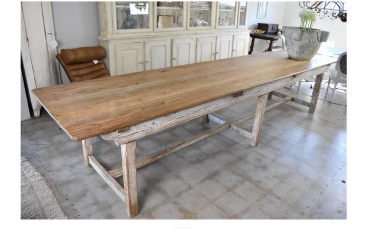 Antica Collection - Farmhouse table with white base