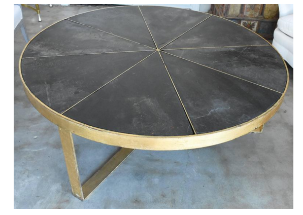 Exceptionnel Iron Coffee Table With Gilt Gold Base And Slate Pie Shaped Slabs Inset