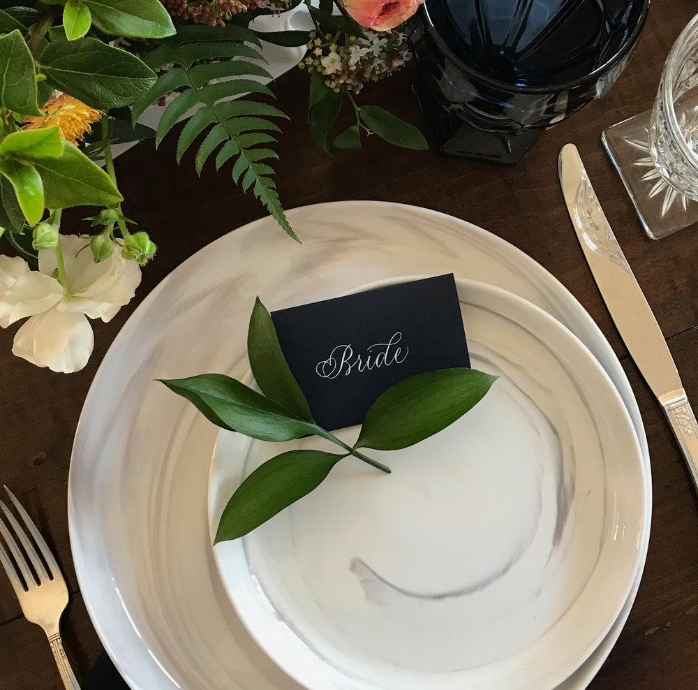 Bride place card in Benvenue style