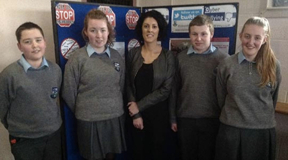 Dr Maureen Griffin with students from Coláiste Mhuire Johnstown following her guest lecture on Internet Safety & Cyberbullying (Feb 2014)