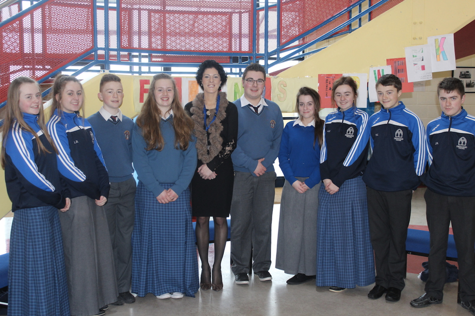 Dr. Maureen Griffin and the student council, Desmond College, Newcastle West, Co. Limerick (2015)