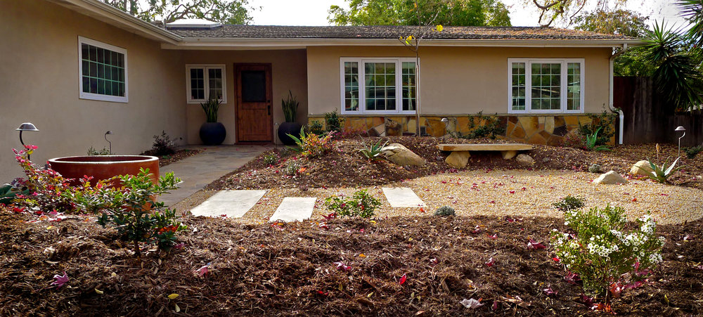 drought tolerant landscape with zen garden