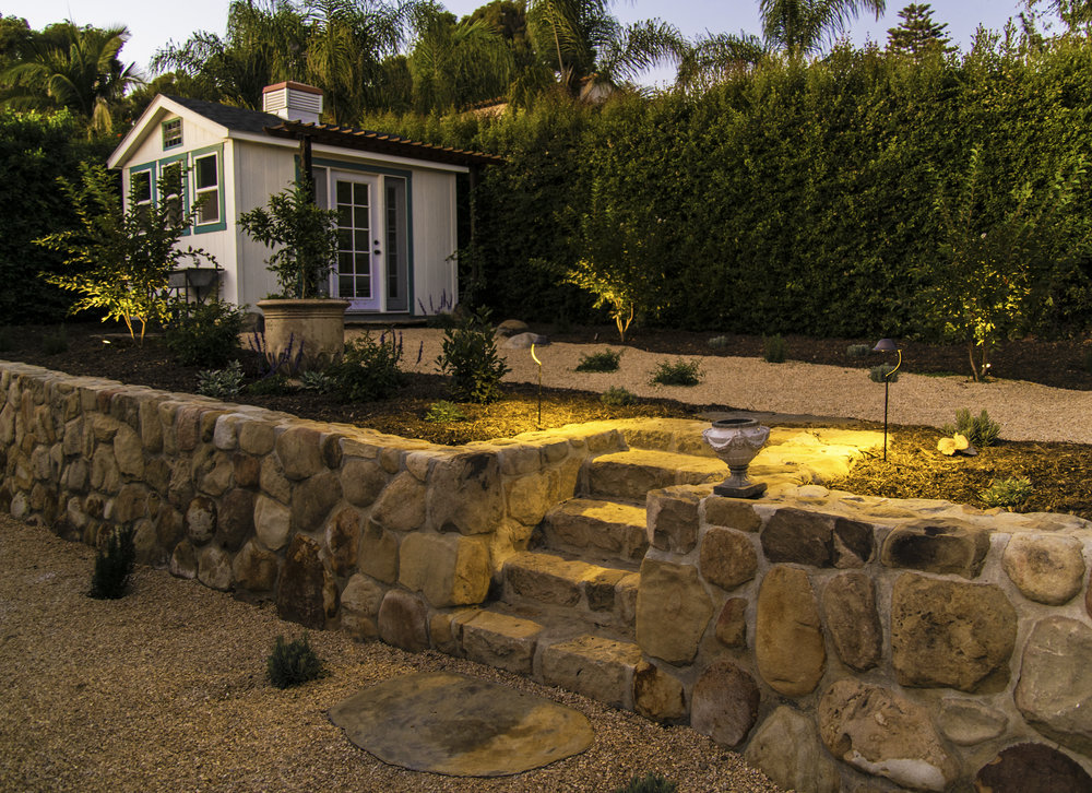 drought tolerant landscape with landscape lighting