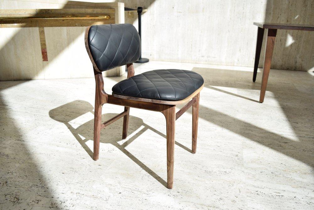 Cafe Chair /   leather, foam, walnut wood, walnut veneer