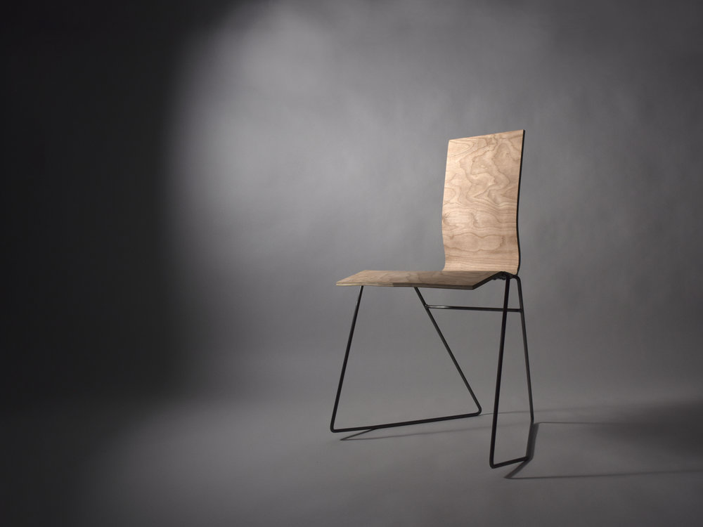 Tilt Chair /   birch plywood, steel rod