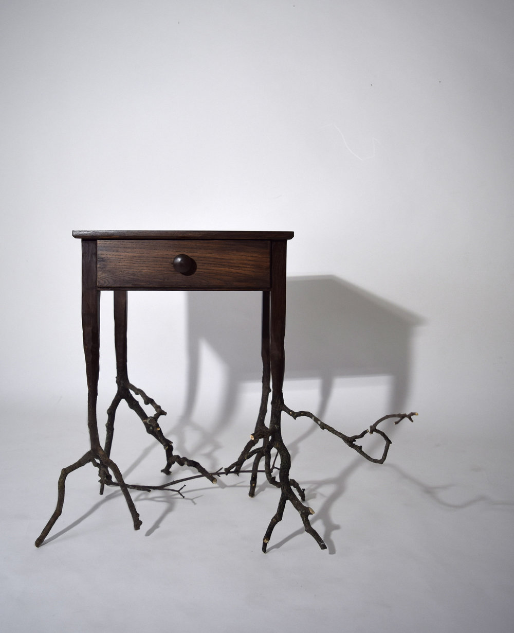 Rooted Side Table /   Ash, discarded street branches      Sometimes, we forget that the things we use, the furniture we surround ourselves with come from the mother nature and that they eventually will go back to her. It is a depleting cycle that we live in and so will it be for our children and our grandchildren. The top of the Rooted Side Table takes a form of an ordinary side table, transitioning down to what seems like the roots of the tree. It was created in collaboration with Brooke Osbourne, a student from Brown University, as a part of RISD x Brown STEAM project. Through the piece, we hoped that people would take a moment to think about the roots of the furniture we use, the objects we often take for granted and appreciate their values in our lives.