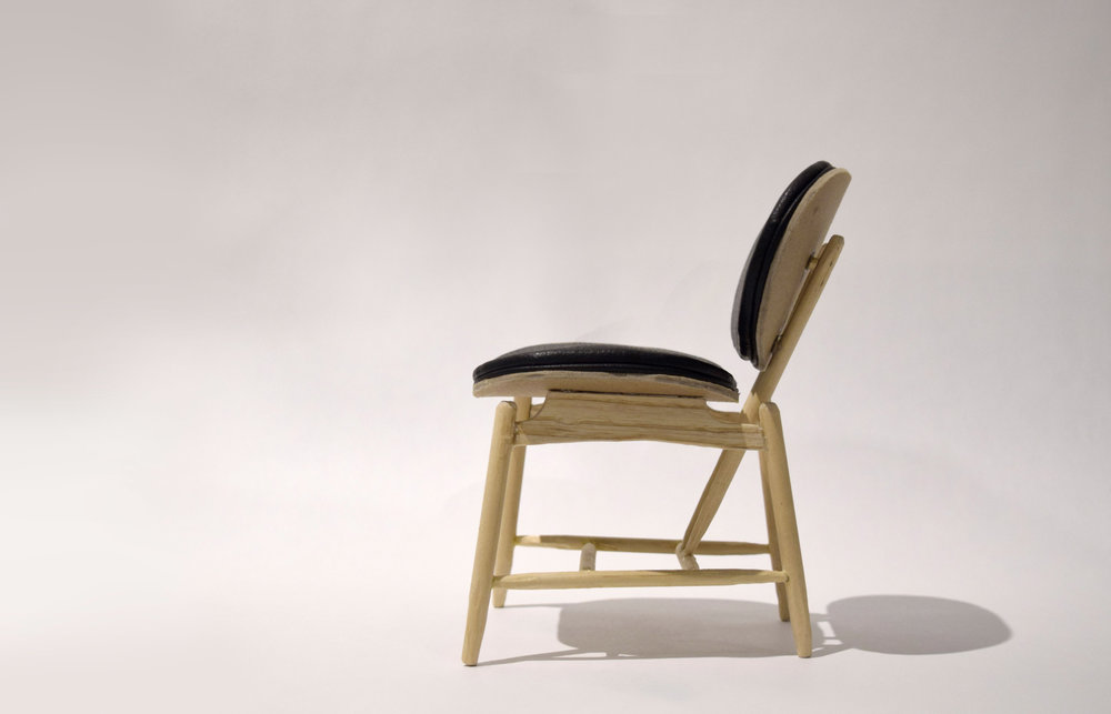 1:4 Chair Scale Model /   dowels, scrap wood, leather