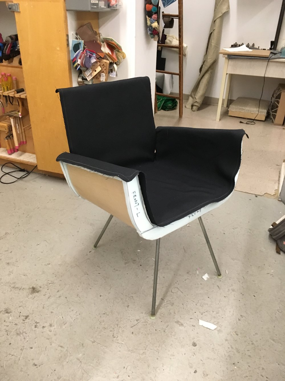 Chair /   mahogany marine ply, foam ; process photo