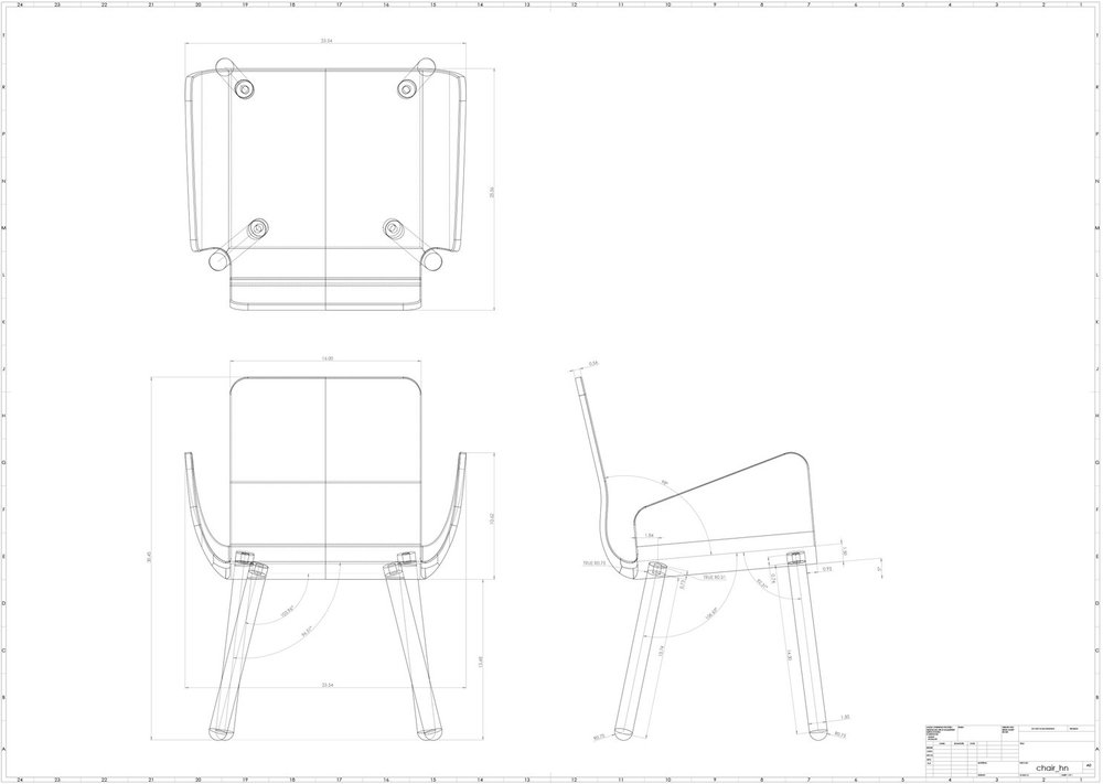 Technical Drawing of a Chair /   Solidworks