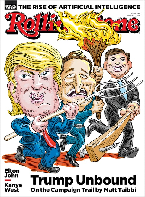 Illustration by Robert Grossman for Rolling Stone.