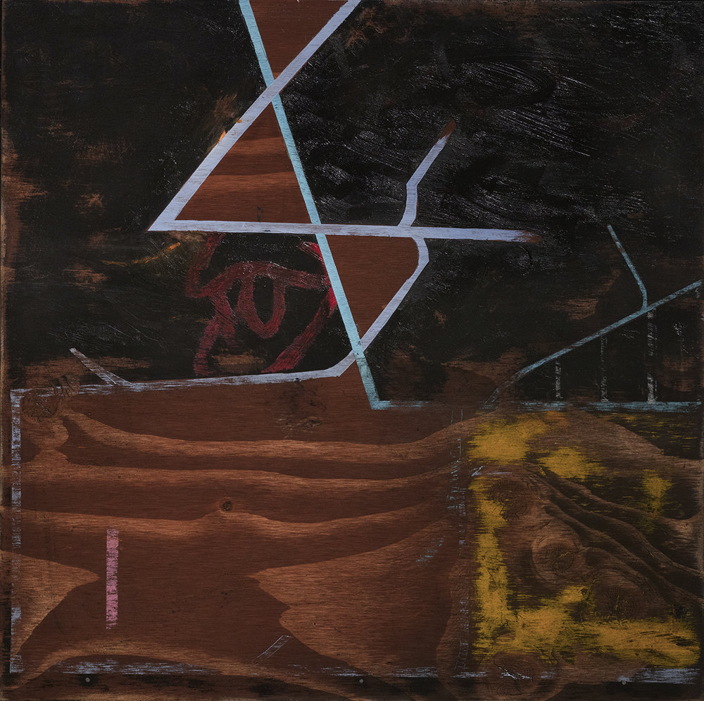 Woodsplitter, oil and wood stain on panel, 24x24 in.
