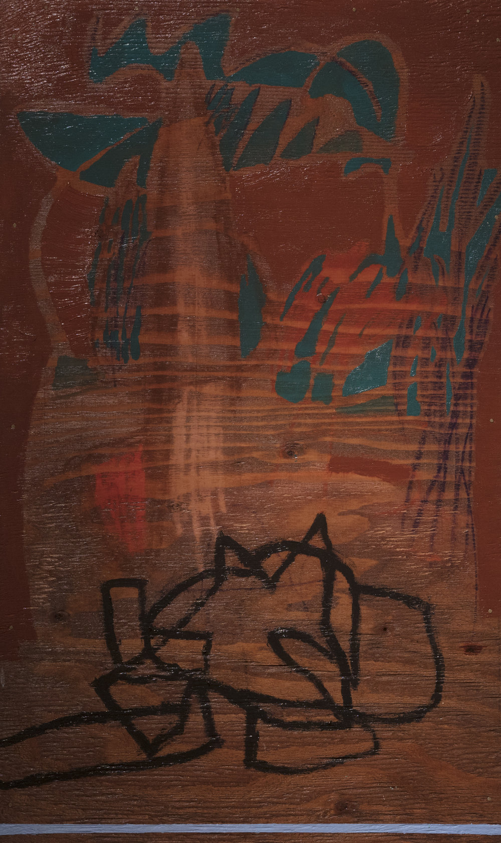 Doodle with Blue Line, oil, wood stain, crayon on panel, 30x18 in.