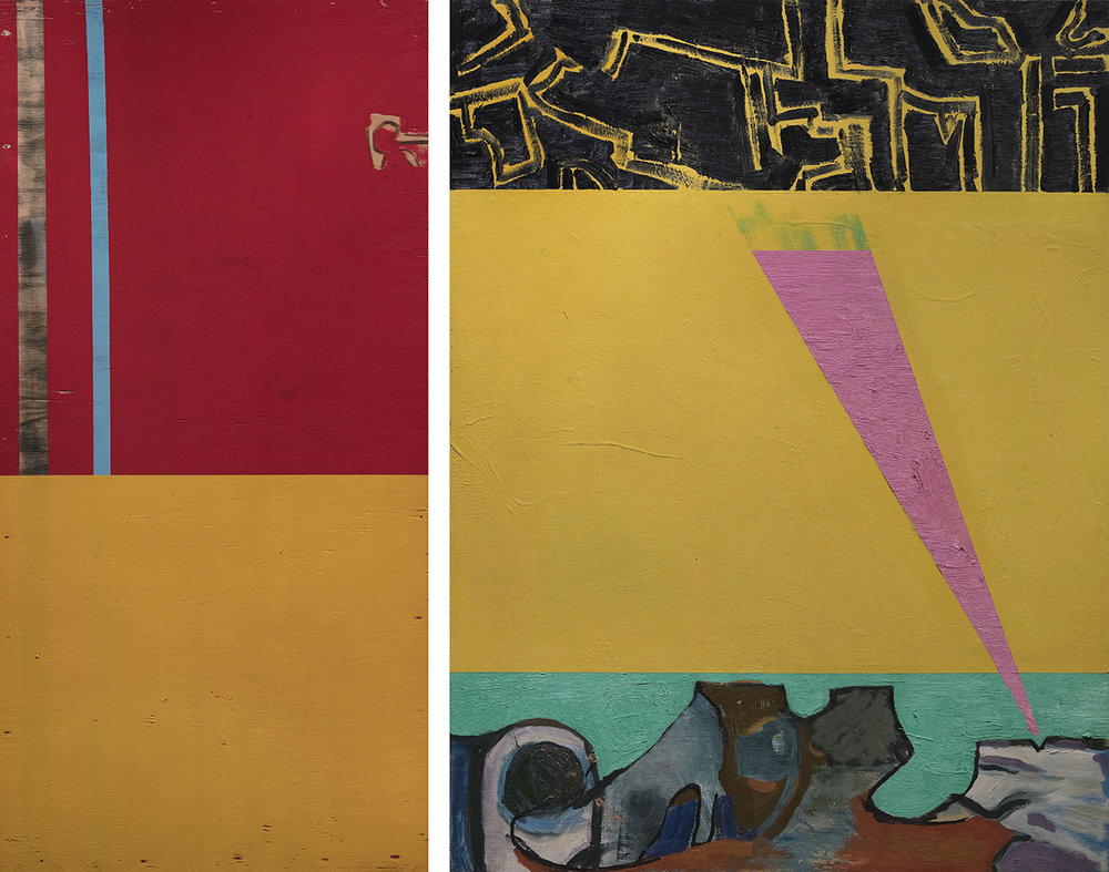 Brooke Walking, oil and enamel on two panels, 48 x 24 in., 48 x 36 in.