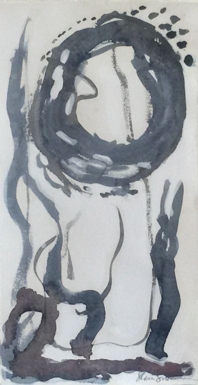 "Birth. Sumi ink, cochineal, indigo, and oyster shell pigment on Arches Cover paper. Sherri Silverman. 2015. 14"" x 7.25""."