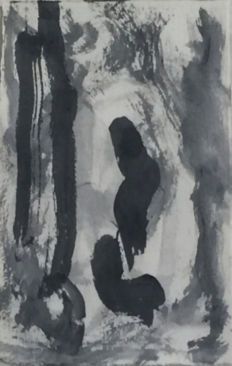 "Abstraction Flow. Sumi ink on Arches Cover paper. Sherri Silverman. 2015. 8.5"" x 5.5""."