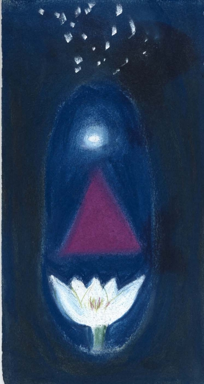 Indigo Source. Sherri Silverman. Pastels and pencil on paper. 2007. Private collection, CA.
