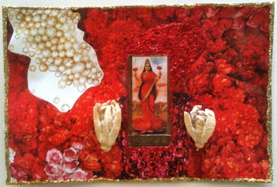 "Lakshmi. Paper collage, glitter, and passionflowers. Sherri Silverman. 5"" x 7.5"". 2013."