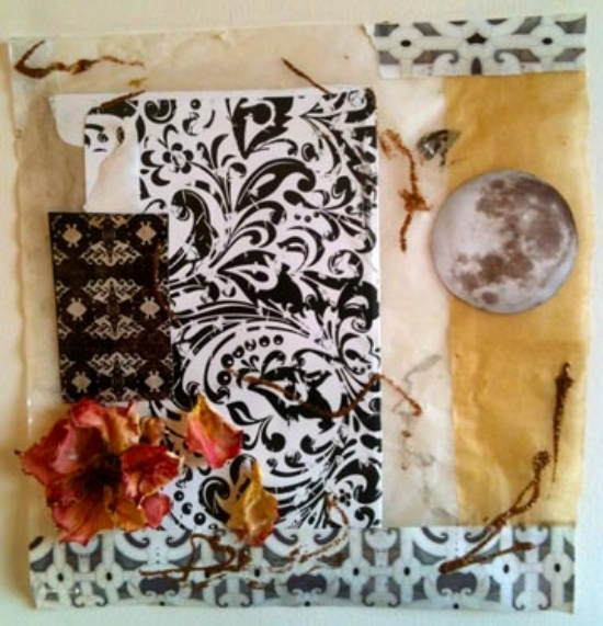 Over the Moon. Glitter, parchment paper, glassine, rose, and paper collage. Sherri Silverman. 2014.