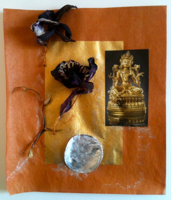On the Way. Joss paper, orchid, metallic silver watercolor, paper, and jar seal. Sherri Silverman. 2014.