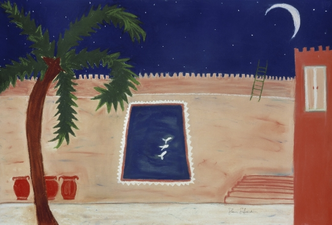 "Swimming to the moon 2. Sherri Silverman. Pastels and pencil on sanded pastel paper. 1987. 22"" x 28"". Private collection."