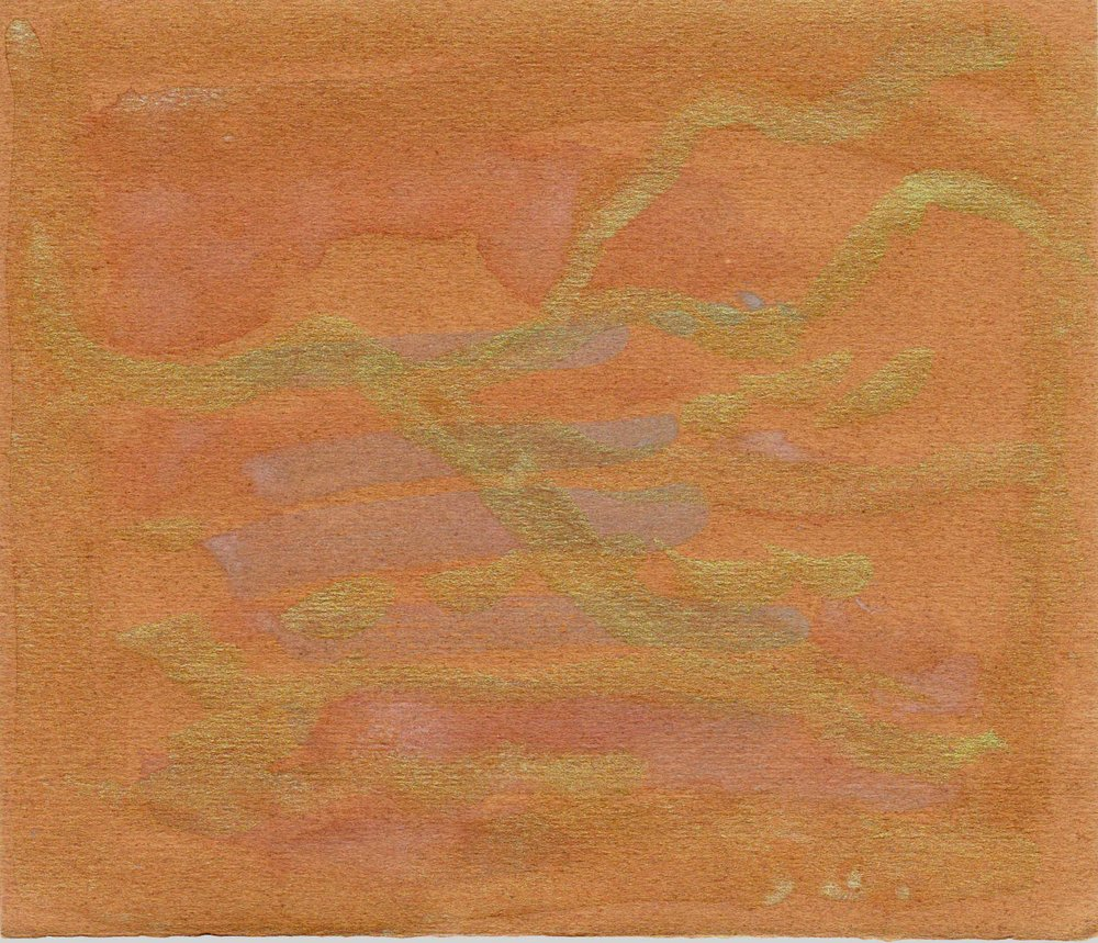 "Southwest Landscape with Mesa. Watercolor and gouache on paper. Sherri Silverman. approx. 5.75"" x 6.5"". 2013. This was a gestural painting done with my eyes closed. when I looked at it, it was clearly a mountainous southwest landscape with a mesa. Mountains come out when I move my arm."