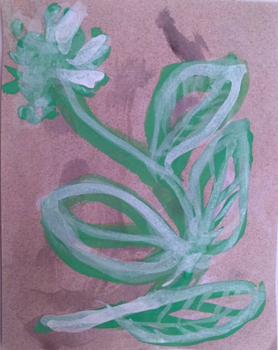 "Botanica 1. Gouache and metallic watercolor on Canson paper. Sherri Silverman. 2017. 6"" x 5""."