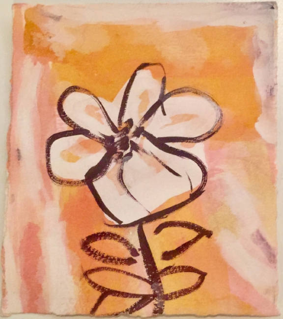 """Dancing with Delight. Gouache on irregularly shaped Arches Cover paper. Sherri Silverman. 2017. 6"""" x 5""""."""