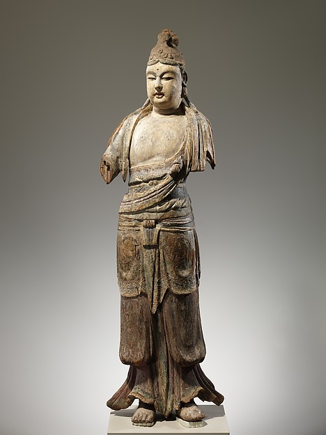 Bodhisattva. Northern Song (960–1127)–Jin (1115–1234) dynasty. 11th–12th century China. Wood (foxglove) with traces of pigment and gilding; single woodblock construction. Metropolitan Museum of Art.