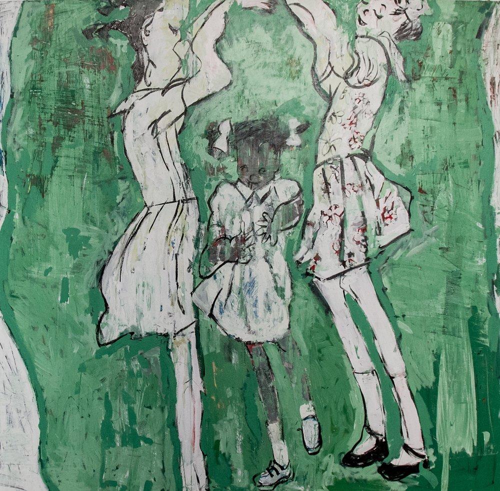"""Three Little Girls"" house paint on canvas"