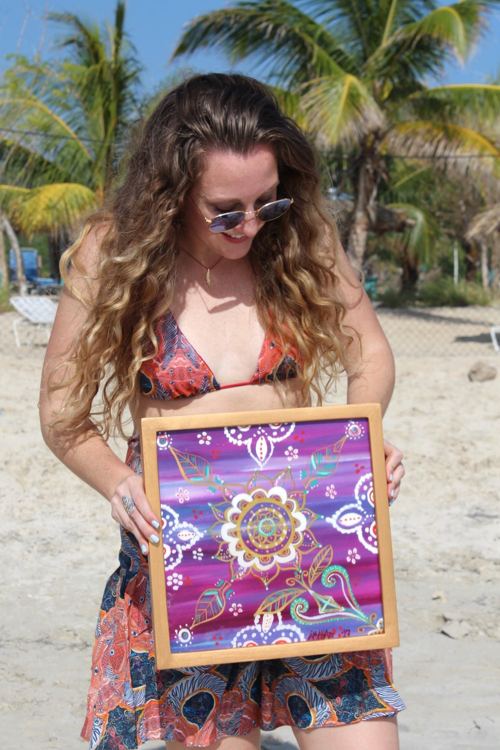 I adore Yanvalou Designs, a company that leases original Haitian paintings to produce this boho luxe beachwear. What could be more perfect?