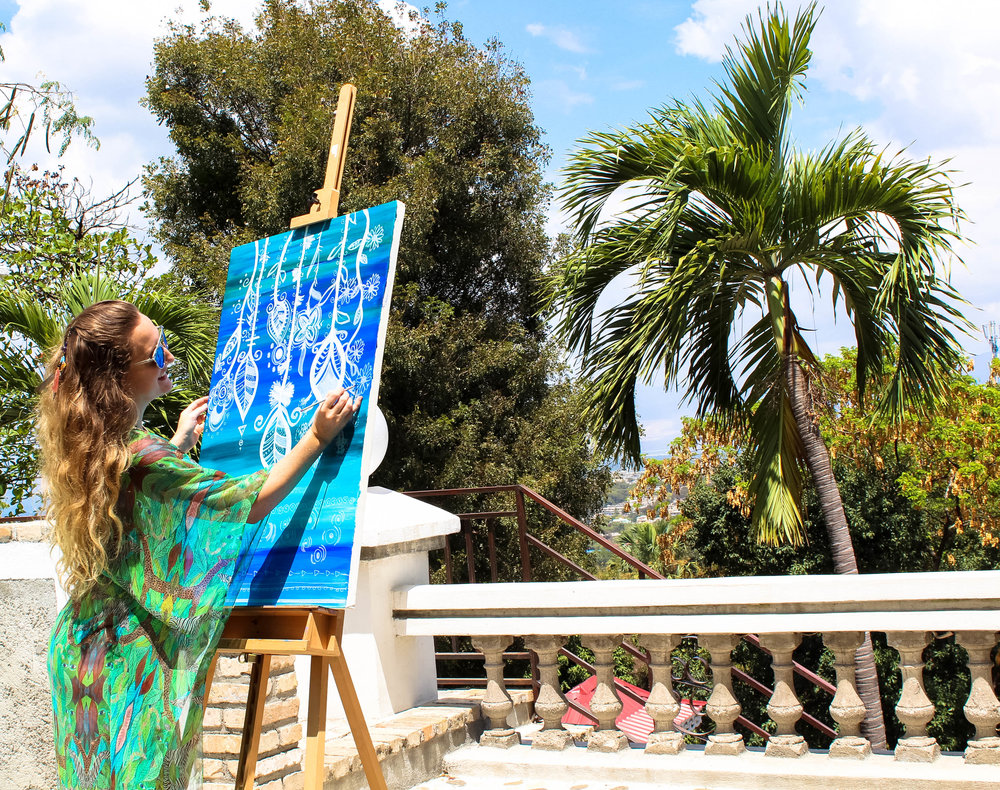 Fridays are for painting poolside.