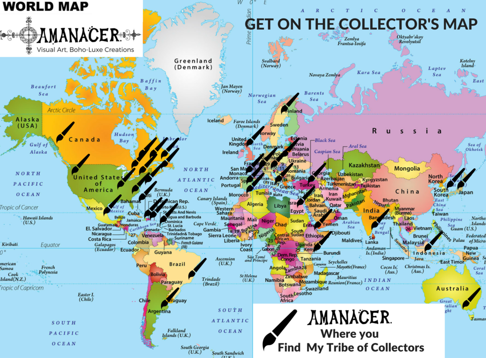 Amanacer Art Collectors Map Worldwide